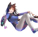 1girl ahri aiming_at_viewer animal_ears bangs blue_bodysuit bodysuit breasts brown_hair charm_(object) commentary cosplay crossover d.va_(overwatch) d.va_(overwatch)_(cosplay) dlausdnr56 eyebrows_visible_through_hair facepaint facial_mark fox_ears fox_girl from_side gloves grin gun handgun high_collar holding holding_gun holding_weapon large_breasts league_of_legends long_hair looking_at_viewer looking_to_the_side no_tail overwatch parted_lips pilot_suit pistol reclining ribbed_bodysuit shoulder_pads simple_background skin_tight slit_pupils smile solo swept_bangs weapon whisker_markings white_background white_gloves yellow_eyes