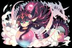 1girl black_hair bodysuit crystal_ball dragon dragon_girl dragon_horns dragon_tail dragon_wings green_eyes highres horns long_hair original pointy_ears skeleton smoke tail very_long_hair wings yuzuki_gao