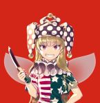 1girl bangs blonde_hair clownpiece eyebrows_visible_through_hair fairy_wings grin hand_on_hip hat jester_cap knife long_hair looking_at_viewer nail_polish neck_ruff polka_dot purple_hat red_background red_eyes red_nails short_sleeves simple_background smile solo star star_print striped teeth touhou upper_body wings zounose