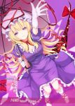 1girl blonde_hair bow breasts dress elbow_gloves eyes from_above gap gloves hair_bow hat hat_ribbon highres long_hair looking_up merukiarisu mob_cap parasol perfect_cherry_blossom puffy_short_sleeves puffy_sleeves purple_dress red_ribbon ribbon short_sleeves solo touhou umbrella violet_eyes yakumo_yukari