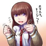 1girl blush breasts chopsticks commentary_request long_hair looking_at_viewer makise_kurisu misonou_hirokichi open_mouth science_adventure smile solo steins;gate translation_request violet_eyes