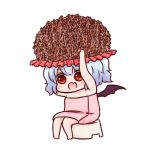 1girl :d arms_up bare_arms bare_legs bare_shoulders barefoot batta_(ijigen_debris) blue_hair blush chibi commentary_request eyebrows_visible_through_hair fang food hat looking_at_viewer naked_towel nattou open_mouth red_eyes remilia_scarlet short_hair simple_background sitting smile solo stool touhou towel white_background wings