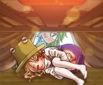 2girls =_= blonde_hair chamaji closed_eyes commentary_request dress eyebrows_visible_through_hair green_hair hair_ribbon hands_under_legs hat kochiya_sanae kotatsu long_sleeves moriya_suwako multiple_girls nontraditional_miko open_mouth purple_dress ribbon short_hair sweat table tablecloth thigh-highs touhou tress_ribbon under_table