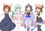 4girls :d ;) akatsuki_(kantai_collection) badge bare_shoulders baseball_cap black_legwear blue_eyes blue_shorts breasts brown_eyes brown_hair cosplay cowboy_shot cravat dragon_girl elbow_gloves elma_(maidragon) elma_(maidragon)_(cosplay) eyebrows_visible_through_hair folded_ponytail gloves hair_ornament hairband hairclip hat hibiki_(kantai_collection) highres horns ikazuchi_(kantai_collection) inazuma_(kantai_collection) kanna_kamui kanna_kamui_(cosplay) kantai_collection kobayashi-san_chi_no_maidragon long_hair looking_at_viewer maid maid_headdress miyabeeya multiple_girls one_eye_closed open_mouth puffy_short_sleeves puffy_sleeves purple_hair quetzalcoatl_(maidragon) quetzalcoatl_(maidragon)_(cosplay) red_neckwear short_hair short_sleeves shorts silver_hair small_breasts smile tank_top thigh-highs tooru_(maidragon) tooru_(maidragon)_(cosplay) violet_eyes white_gloves white_legwear