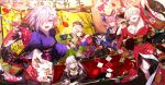 5girls ahoge alcohol animal_ears blonde_hair blue_legwear bow bowl breasts cleavage closed_eyes earrings face_painting fate/grand_order fate_(series) flower food fox_ears fox_tail grey_eyes hair_between_eyes hair_bow hair_flower hair_ornament hair_over_one_eye highres japanese_clothes jewelry kimono kiyohime_(fate/grand_order) kotatsu legs looking_at_viewer lying microphone miyamoto_musashi_(fate/grand_order) mouth multiple_girls music nero_claudius_(fate) nero_claudius_(fate)_(all) new_year noodles open_mouth orange_eyes pink_hair purple_hair reaching_out sash shinooji short_hair sign silver_hair singing steam table tail tamamo_(fate)_(all) tamamo_no_mae_(fate) thighs tray twintails yellow_eyes