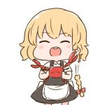 /\/\/\ 1girl :d apron batta_(ijigen_debris) black_dress blonde_hair blush_stickers braid chibi closed_eyes commentary_request cowboy_shot crab cutting_hair detached_hair dress eyebrows_visible_through_hair facing_viewer hair_ribbon holding kirisame_marisa open_mouth pincers ribbon short_hair short_sleeves simple_background smile solo standing touhou tress_ribbon upper_body waist_apron white_background