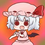 1girl :d ascot batta_(ijigen_debris) blue_hair chibi commentary_request drugs empty_eyes eyebrows_visible_through_hair fang hat looking_at_viewer mob_cap open_mouth pink_hat pink_shirt pink_skirt puffy_short_sleeves puffy_sleeves red_eyes red_neckwear remilia_scarlet ringed_eyes saliva shirt short_hair short_sleeves skirt smile solo touhou upper_body wide-eyed wings wristband