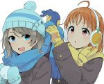 2girls :d :o ahoge beanie blue_eyes blue_scarf coat commentary_request copyright_request earmuffs gloves grey_hair hat highres long_sleeves love_live! love_live!_sunshine!! mittens monsieur multiple_girls open_mouth orange_hair parted_lips red_eyes scarf simple_background smile takami_chika watanabe_you white_background winter_clothes winter_coat yellow_gloves yellow_scarf
