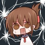 1girl @_@ batta_(ijigen_debris) blue_sailor_collar brown_eyes brown_hair chibi electricity eyebrows_visible_through_hair eyes_visible_through_hair hair_between_eyes inazuma_(kantai_collection) kantai_collection looking_at_viewer neckerchief open_mouth red_neckwear sailor_collar school_uniform serafuku solo square_mouth surprised sweatdrop tied_hair upper_body