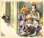 1girl 5boys book disney dog donald_duck duck fox goofy heartless hiding judy_hopps kingdom_hearts nick_wilde pointing police police_uniform rabbit sora_(kingdom_hearts) zootopia