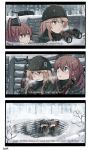2girls 3koma alternate_costume binoculars black_gloves blonde_hair blue_eyes brown_hair browning_automatic_rifle comic commentary gloves gun hair_between_eyes hard_translated highres ido_(teketeke) iowa_(kantai_collection) kantai_collection long_hair long_sleeves m1903_springfield m1918_bar machine_gun multiple_girls open_mouth saratoga_(kantai_collection) side_ponytail snow snowing star star-shaped_pupils symbol-shaped_pupils weapon