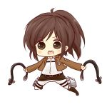 1girl :d bangs batta_(ijigen_debris) belt blush boots brown_footwear brown_hair brown_jacket chibi collared_shirt commentary_request eel eyebrows_visible_through_hair full_body jacket jumping long_sleeves looking_at_viewer open_mouth pants ponytail round_teeth sasha_braus shingeki_no_kyojin shirt simple_background smile solo teeth three-dimensional_maneuver_gear v-shaped_eyebrows white_background white_pants white_shirt
