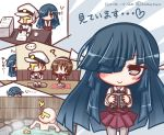 ... 1boy 2girls :o ? bangs binoculars blue_hair blush chopsticks closed_mouth collarbone collared_shirt cup dated dress eyebrows_visible_through_hair food grey_eyes hair_over_one_eye hair_ribbon hairband hat hayashimo_(kantai_collection) heart holding holding_binoculars holding_chopsticks holding_food jacket kantai_collection komakoma_(magicaltale) long_hair long_sleeves looking_at_viewer military military_hat military_jacket military_uniform multiple_girls natori_(kantai_collection) nude obentou onigiri onsen paper_stack parted_lips partially_submerged peaked_cap peeking_out pleated_dress purple_dress ribbon rubber_duck shirt smile spoken_ellipsis stack stalking sweatdrop t-head_admiral translation_request twitter_username uniform v_arms very_long_hair water white_hairband white_hat white_jacket white_ribbon white_shirt yunomi