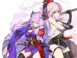 2girls bare_shoulders blue_eyes breasts cosplay detached_sleeves elbow_gloves fate/grand_order fate_(series) gloves granblue_fantasy hair_ornament hair_over_one_eye hong_(white_spider) horns katana lavender_hair long_hair miyamoto_musashi_(fate/grand_order) miyamoto_musashi_(fate/grand_order)_(cosplay) multiple_girls narumeia_(granblue_fantasy) narumeia_(granblue_fantasy)_(cosplay) navel pink_hair ponytail smile sword thigh-highs thigh_strap weapon