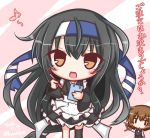 2girls :d alternate_costume apron bangs bendy_straw black_hair black_kimono black_pants black_skirt black_vest blush blush_stickers brown_eyes brown_hair cup drink drinking_glass drinking_straw enmaided eyebrows_visible_through_hair frilled_apron frills hair_between_eyes hatsushimo_(kantai_collection) headband holding holding_pen holding_tray japanese_clothes kantai_collection kimono komakoma_(magicaltale) long_hair long_sleeves looking_at_viewer low-tied_long_hair maid multiple_girls musical_note open_mouth pants pleated_skirt quaver shirt short_kimono skirt smile translation_request tray uniform very_long_hair vest wa_maid waitress wakaba_(kantai_collection) white_apron white_shirt wide_sleeves ||_||