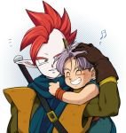 2boys blue_background closed_eyes dragon_ball dragonball_z gloves green_eyes hand_on_another's_head hug hug_from_behind looking_at_another male_focus mohawk multiple_boys musical_note petagon purple_hair redhead scarf short_hair simple_background smile sword tapion trunks_(dragon_ball) weapon white_background wristband