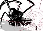 1girl bangs blunt_bangs claws copyright_request extra_legs greyscale insect_girl long_hair looking_at_viewer monochrome monster_girl pleated_skirt red_eyes shoes silk skirt smile socks solo spider_girl spider_web spot_color tiptoes youko_(asamiy)