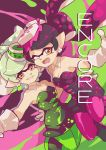 +_+ 2girls ankle_boots aori_(splatoon) arm_around_waist black_dress black_footwear black_hair black_jumpsuit boots brown_eyes commentary cousins cover cover_page detached_collar domino_mask dress english fangs food food_on_head foreshortening green_legwear grey_hair grin highres hotaru_(splatoon) long_hair looking_at_viewer mask mole mole_under_eye multicolored multicolored_background multiple_girls object_on_head one_eye_closed open_mouth pantyhose pointy_ears reaching short_dress short_hair short_jumpsuit side-by-side smile splatoon splatoon_1 standing strapless strapless_dress sushi tentacle_hair wong_ying_chee