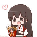 2girls :d akagi_(kantai_collection) antenna_hair batta_(ijigen_debris) blank_eyes blush brown_eyes brown_hair chibi commentary_request double_bun eyebrows_visible_through_hair flying_sweatdrops food french_fries heart holding in_food japanese_clothes kantai_collection long_hair mcdonald's minigirl multiple_girls muneate naka_(kantai_collection) o_o open_mouth round_teeth scared simple_background smile teeth twitter_username upper_teeth white_background wristband