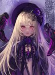 1girl black_hat blonde_hair cross destiny_child fangs flower gothic_lolita hair_flower hair_ornament hat jang_ju_hyeon lolita_fashion long_hair midriff open_mouth parted_lips purple_flower red_eyes snake solo upper_body very_long_hair