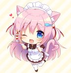 1girl ;d animal_ears apron bangs bell black_bow black_dress black_footwear blue_eyes blush bow cat_ears cat_girl cat_tail chibi commentary_request diagonal-striped_background diagonal_stripes dress eyebrows_visible_through_hair fang fish_hair_ornament frilled_apron frills full_body garter_straps hair_between_eyes hair_ornament heart heart_tail highres holding holding_tray jingle_bell looking_at_viewer maid_headdress natsuki_marina one_eye_closed open_mouth original parfait pink_eyes puffy_short_sleeves puffy_sleeves shoes short_sleeves smile solo standing standing_on_one_leg tail thigh-highs tray white_apron white_legwear wrist_cuffs