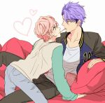 2boys a3! food hyodou_juuza male_focus multiple_boys pocky pocky_kiss sakisaka_muku shared_food