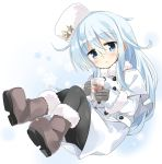 1girl black_legwear blue_eyes boots commentary_request fur_trim glass hammer_and_sickle hat hibiki_(kantai_collection) highres hizuki_yayoi kantai_collection long_hair looking_at_viewer pantyhose silver_hair solo verniy_(kantai_collection) white_coat winter_clothes