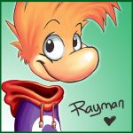 1boy atomicray character_name deviantart green_background heart jacket looking_at_viewer rayman rayman_(character) scarf smile solo ubisoft