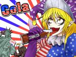 1girl american_flag american_flag_dress bald_eagle bird blonde_hair clownpiece drinking_straw eagle english eyeliner forehead_tattoo hair_between_eyes hat jester_cap legacy_of_lunatic_kingdom long_hair long_sleeves looking_at_viewer makeup open_mouth pointy_ears ryuuichi_(f_dragon) sharp_teeth sharp_tongue soda_bottle solo statue_of_liberty teeth tongue tongue_out touhou yellow_eyes