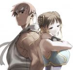1boy 1girl alternate_costume artist_request asian back-to-back back_to_back bare_shoulders bracelet brown_eyes brown_hair chun-li double_bun dougi female hair_ribbon hairbuns headband height_difference jewelry male muscle ribbon ryuu_(street_fighter) shadow short_hair simple_background sleeveless sleeves_removed smile street_fighter street_fighter_zero_(series) studded_bracelet together white_background white_headband
