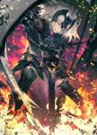 1girl black_legwear blurry chains commentary_request depth_of_field fate/grand_order fate_(series) fire gauntlets grey_hair headpiece highres jeanne_d'arc_(alter)_(fate) jeanne_d'arc_(fate)_(all) kodama_(wa-ka-me) legs_apart looking_at_viewer parted_lips planted_sword planted_weapon short_hair smile solo standard_bearer standing sword teeth thigh-highs tsurime weapon yellow_eyes