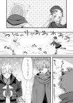 2boys 3girls abigail_williams_(fate/grand_order) alternate_costume archer_(fate/extra) blush breath charles_henri_sanson_(fate/grand_order) comic earmuffs etori fate/grand_order fate_(series) gloves greyscale hands_together horn lavinia_whateley_(fate/grand_order) long_hair long_sleeves monochrome mouth_hold multiple_boys multiple_girls nezha_(fate) open_mouth scarf short_hair snowball snowing sparkle throwing translation_request