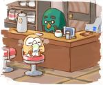 =_= bird cash_register coffee_cup coffee_pot company_connection crossover door doubutsu_no_mori drinking glasses master_(doubutsu_no_mori) nintendo no_humans opaque_glasses pokemon pokemon_(creature) round_eyewear rowlet sitting stool