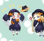2girls :d :o abigail_williams_(fate/grand_order) abigail_williams_(fate/grand_order)_(cosplay) arms_up atsumi_jun bangs black_bow black_dress black_hat blonde_hair bloomers blue_eyes bow butterfly commentary_request cosplay dress enemy_aircraft_(kantai_collection) eyebrows_visible_through_hair fate/grand_order fate_(series) forehead hair_bow hat kantai_collection long_hair long_sleeves looking_at_viewer multiple_girls northern_ocean_hime open_mouth orange_bow parted_bangs parted_lips pink_eyes polka_dot polka_dot_bow shinkaisei-kan sleeves_past_wrists smile underwear v-shaped_eyebrows very_long_hair white_bloomers white_hair