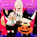 3boys animal_ears black_hair black_legwear blonde_hair blue_eyes brown_eyes cape child fangs gloves green_eyes halloween hat katsuki_yuuri kneehighs kneeling male_focus multiple_boys open_mouth paw_gloves paws pumpkin_costume shorts silver_hair smile star suspenders tail teenage trick_or_treat ure_p viktor_nikiforov witch_hat wolf_ears wolf_paws wolf_tail younger yuri!!!_on_ice yuri_plisetsky