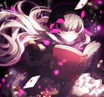 1girl ace_of_diamonds asa_(memento) bangs beamed_quavers beret black_bow black_capelet black_dress black_gloves black_hat blurry blurry_foreground book bow card checkerboard_cookie closed_mouth commentary_request cookie depth_of_field diamond_(shape) dress eyebrows_visible_through_hair fate/extra fate_(series) food food_print frilled_dress frilled_sleeves frills fur-trimmed_capelet gloves gothic_lolita hair_between_eyes hair_bow hat holding holding_book lolita_fashion long_hair long_sleeves looking_away mushroom_print musical_note nursery_rhyme_(fate/extra) open_book playing_card print_dress quaver silver_hair smile solo star striped striped_bow treble_clef very_long_hair violet_eyes