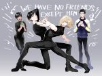 4boys ^_^ anne_(annene) black_hair blonde_hair brown_eyes cellphone closed_eyes directional_arrow english green_eyes hand_holding jacket katsuki_yuuri male_focus multiple_boys open_mouth otabek_altin phichit_chulanont phone pose smartphone smile standing standing_on_one_leg track_jacket yuri!!!_on_ice yuri_plisetsky