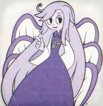1girl angel_wings blue_skin cuphead_(game) highres index_finger_raised long_hair multiple_wings sariel seraph touhou touhou_(pc-98) very_long_hair wide_sleeves wings yatsunote