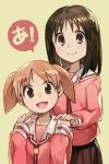2girls :d azumanga_daioh brown_eyes brown_hair brown_skirt child closed_mouth hand_holding hankuri height_difference kasuga_ayumu long_hair long_sleeves looking_at_viewer mihama_chiyo multiple_girls open_mouth pink_shirt pleated_skirt school_uniform serafuku shirt short_hair simple_background skirt smile speech_bubble standing twintails yellow_background