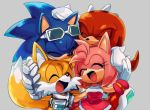 1girl 3boys amy_rose closed_eyes eyewear_on_head friends goggles goggles_around_neck group_hug hand_on_another's_head happy hug knuckles_the_echidna laughing lowres multiple_boys open_mouth smile sonic sonic_riders sonic_the_hedgehog sunglasses tails_(sonic)