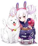 1girl :o animal animal_ears azur_lane bangs bell blush bow candy_apple closed_eyes commentary_request dog eyebrows_visible_through_hair floral_print food hair_between_eyes hair_bow hair_up hairband holding holding_food japanese_clothes jingle_bell kimono laffey_(azur_lane) looking_at_viewer obi parted_lips pink_bow pink_eyes pink_hair print_kimono purple_kimono rabbit_ears red_footwear red_hairband sash scratching_head socks solo squatting suzuharu_toufu tabi tongue tongue_out translated white_background white_legwear zouri