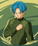 1boy blue_eyes blue_hair clenched_hand dragon_ball dragon_ball_super dragonball_z green_background green_shirt long_sleeves looking_at_viewer male_focus official_style petagon shirt short_hair simple_background smile trunks_(dragon_ball)