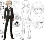 1boy blonde_hair blue_eyes character_sheet clenched_hands color_guide concept_art danganronpa danganronpa_1 full_body glasses komatsuzaki_rui looking_at_viewer male_focus necktie official_art pants reference_sheet school_uniform shirt shoes simple_background sketch standing togami_byakuya translation_request under-rim_eyewear white_background white_shirt