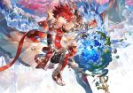 1boy aiguillette belt blue_eyes boots cape elsword elsword_(character) expressionless floating_object floating_rock gloves knight_emperor_(elsword) pauldrons planet redhead scorpion5050 short_hair sword tree water weapon