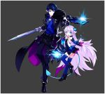 1boy 1girl blue_eyes blue_hair ciel_(elsword) claws collared_shirt demon_girl demon_power_(elsword) demon_tail elsword fur_trim grey_background gunblade horns hwansang jacket long_hair luciela_r._sourcream official_art pointy_ears ribbon shirt short_hair smile symbol-shaped_pupils tail weapon white_hair