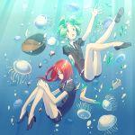 amputee androgynous bowl bubble gem_uniform_(houseki_no_kuni) green_eyes green_hair high_heels houseki_no_kuni jellyfish matsuki_(mikipingpong) necktie open_mouth phosphophyllite puffy_short_sleeves puffy_sleeves red_eyes redhead shinsha_(houseki_no_kuni) short_sleeves shorts underwater