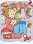 1girl blonde_hair bodysuit christmas christmas_tree closed_eyes helmet high_ponytail highres long_hair metroid mole mole_under_mouth ponytail samus_aran shiny shiny_clothes smole solo splashbrush sweater varia_suit zero_suit