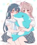 2girls bangs blue_hair blush commentary_request dolphin eyebrows_visible_through_hair grey_hair hair_between_eyes hair_ornament holding inflatable_dolphin inflatable_toy kiss long_hair love_live! love_live!_school_idol_project minami_kotori multiple_girls one_side_up pleated_skirt purin_(purin0) sailor_collar school_uniform serafuku short_sleeves simple_background sitting skirt sonoda_umi yellow_eyes
