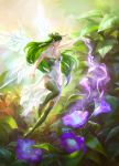 1girl artist_name bare_hips bare_shoulders closed_mouth double_bun fairy fairy_wings flower flying green_eyes green_footwear green_hair green_legwear hand_up highres horn_ornament legs_together long_hair magic minigirl scenery signature solo tatiana_kirgetova wings