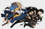 2boys back-to-back black_hair blue_eyes blue_hair cuts doudanuki_masakuni grey_background hat highres holding holding_weapon injury japanese_clothes kuhe male_focus multiple_boys open_mouth rice_hat sandals sayo_samonji scar simple_background torn_clothes touken_ranbu weapon yellow_eyes